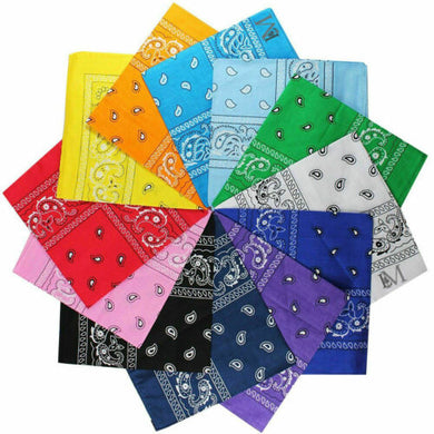 Assorted Bandana Paisley Head Wrap In Various Colors 100% Cotton 22