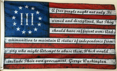Betsy Ross 3 Percenter Geo Washington Arms Vintage Flag Rough Tex ® 2'x3' 100D