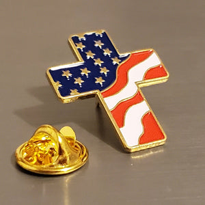 USA Cross Wavy -  Cloisonne Hat & Lapel Pin
