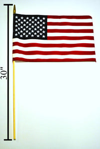 "144 AMERICAN FLAG STICK FLAGS 12""X18"" FOR GRAVES PARADES 30"" STAFF USA"
