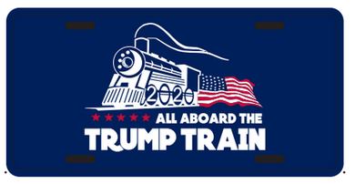 Trump Train Blue Embossed License Plate