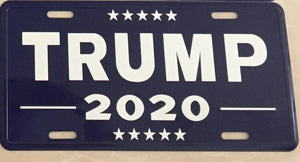 TRUMP 2020 BLUE ALUMINUM EMBOSSED LICENSE PLATE
