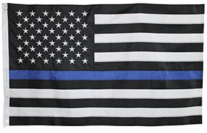 USA Thin Blue Line Police Memorial 5'X8' Flag With Embroidered Stars & Sewn Stripes 100% Rough Tex® 300D Nylon