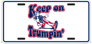 Keep On Trumpin' Embossed License Plate