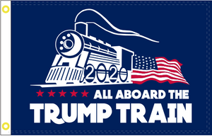 All Aboard the Trump Train Blue 3'X5' Flag Rough Tex® 68D Nylon