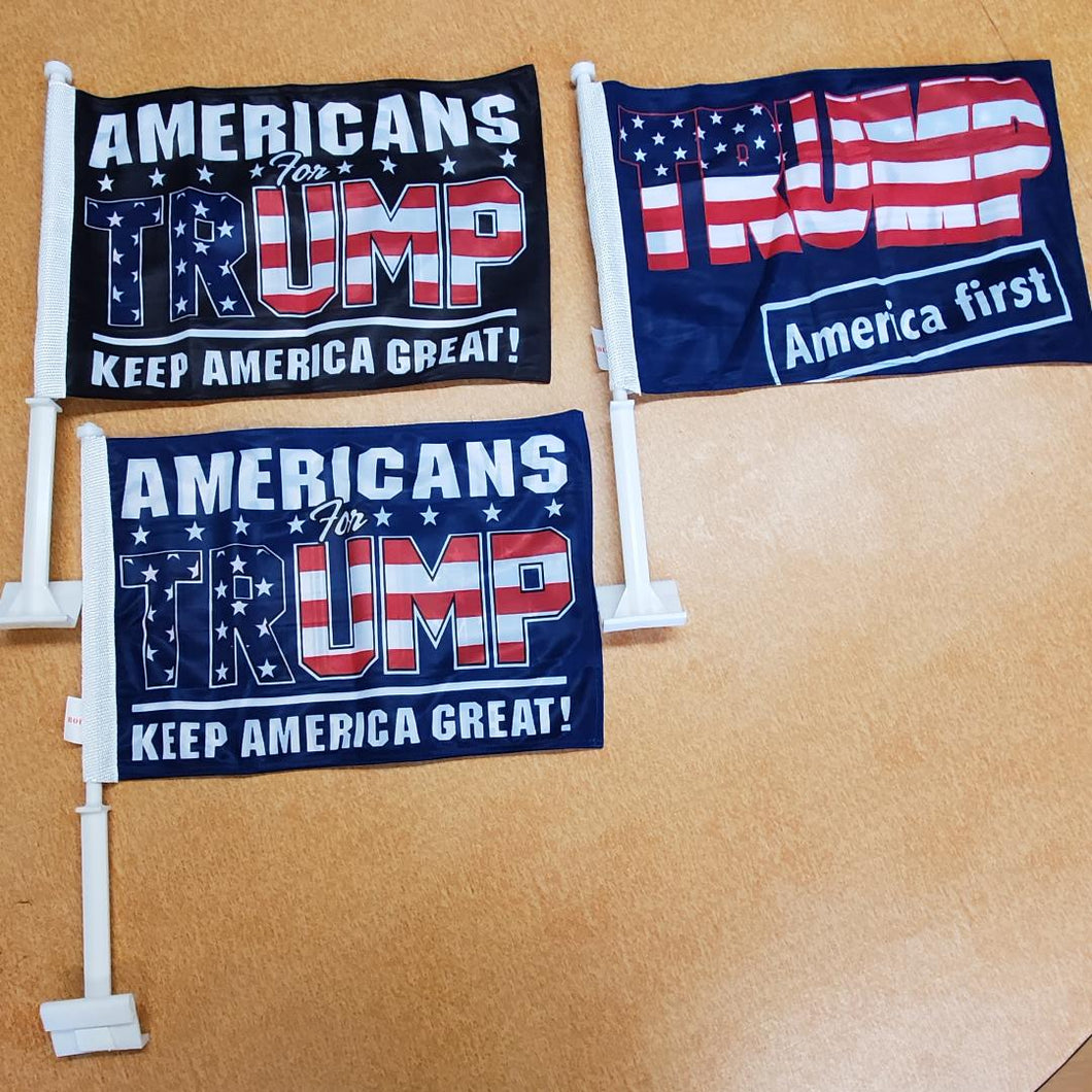 1 Set 3 Car flags (1 each) TRUMP ASSORTED CAR FLAGS AMERICA FIRST KEEP AMERICA GREAT AMERICANS FOR TRUMP