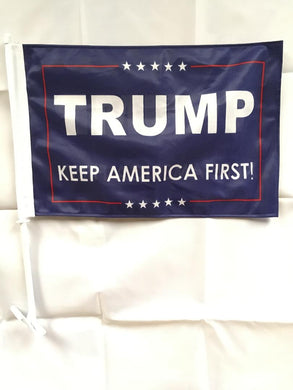 12 TRUMP KEEP AMERICA FIRST! BLUE CAR FLAGS BY THE DOZEN WHOLESALE PER DESIGN!