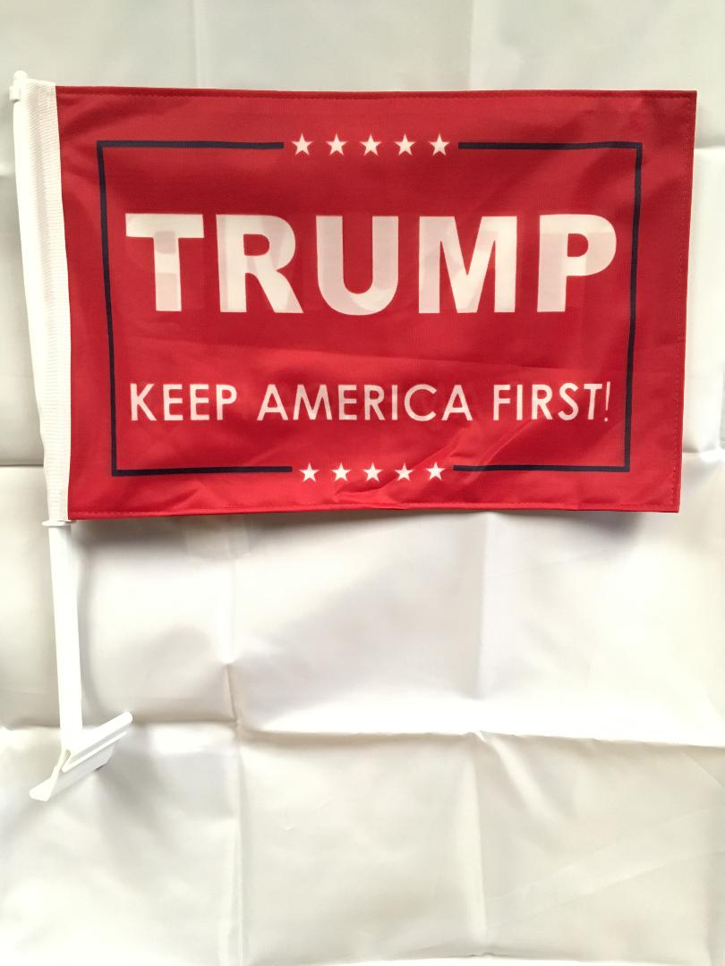 12 TRUMP KEEP AMERICA FIRST! RED CAR FLAGS BY THE DOZEN WHOLESALE PER DESIGN!