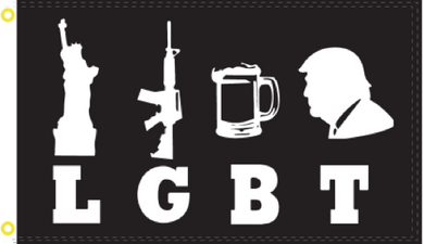 Liberty Guns Beer Trump LGBT Black & White Flag Rough Tex ® 2'X3' 100D