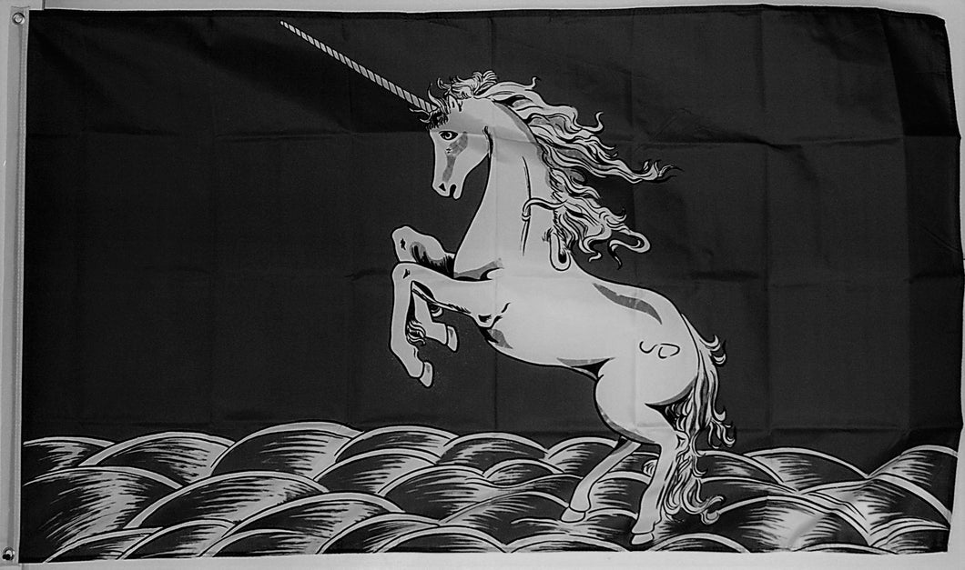 Rearing Unicorn Black 3'X5' Flag Rough Tex®