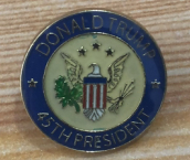 Donald Trump 45 President Blue and White Cloisonne Hat & Lapel Pin