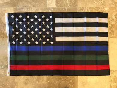 USA MEMORIAL OFFICIAL SERVICE SUPPORTERS FLAG (POLICE, MILITARY & FIRE RESCUE) FLAG THIN BLUE GREEN RED LINE AMERICAN FLAG 3X5 68D NYLON
