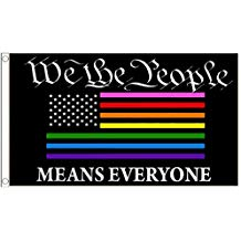 12 3'X5' WE THE PEOPLE MEANS EVERYONE RAINBOW USA 100D FLAGS BY THE DOZEN WHOLESALE PER DESIGN!