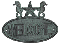 Welcome Seahorse Sign Cast Iron