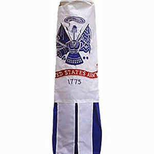 ARMY EMBROIDERED WHITE Flag Wind Sock