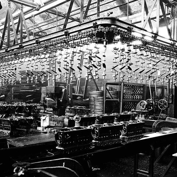 Engine Block Assembly Plant <br> Vintage Detroit - The Detroit Wallpaper Co.