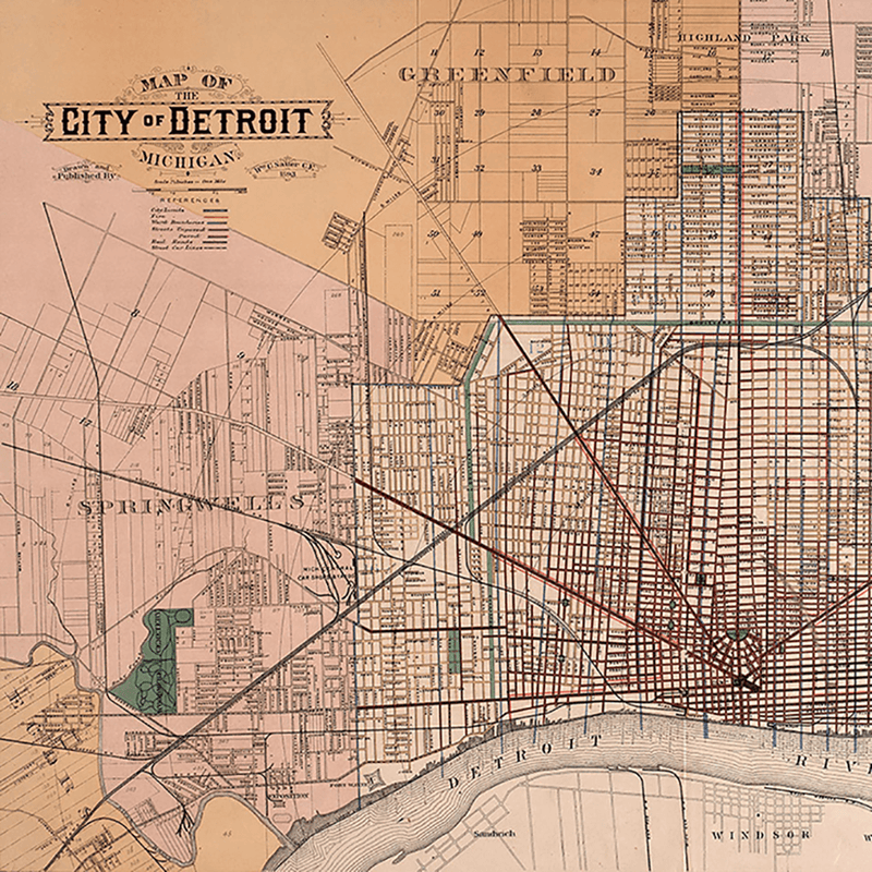 1893 Detroit Map <br> Vintage Detroit - Trendy Custom Wallpaper | Contemporary Wallpaper Designs | The Detroit Wallpaper Co.