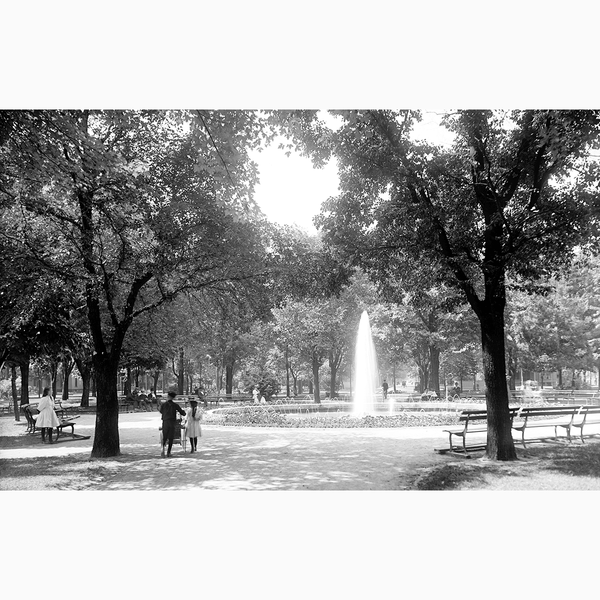 Grand Circus Park Fountain <br> Vintage Detroit - Trendy Custom Wallpaper | Contemporary Wallpaper Designs | The Detroit Wallpaper Co.