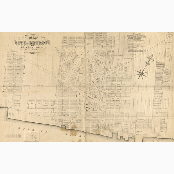 1835 Detroit Map <br> Vintage Detroit - Trendy Custom Wallpaper | Contemporary Wallpaper Designs | The Detroit Wallpaper Co.