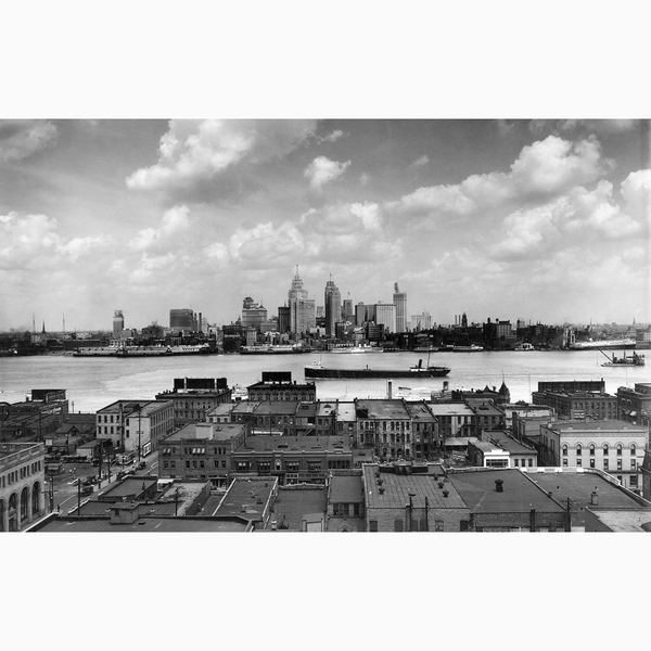 Detroit Skyline from Windsor <br> Vintage Detroit - Trendy Custom Wallpaper | Contemporary Wallpaper Designs | The Detroit Wallpaper Co.