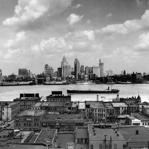 Detroit Skyline from Windsor <br> Vintage Detroit - The Detroit Wallpaper Co.