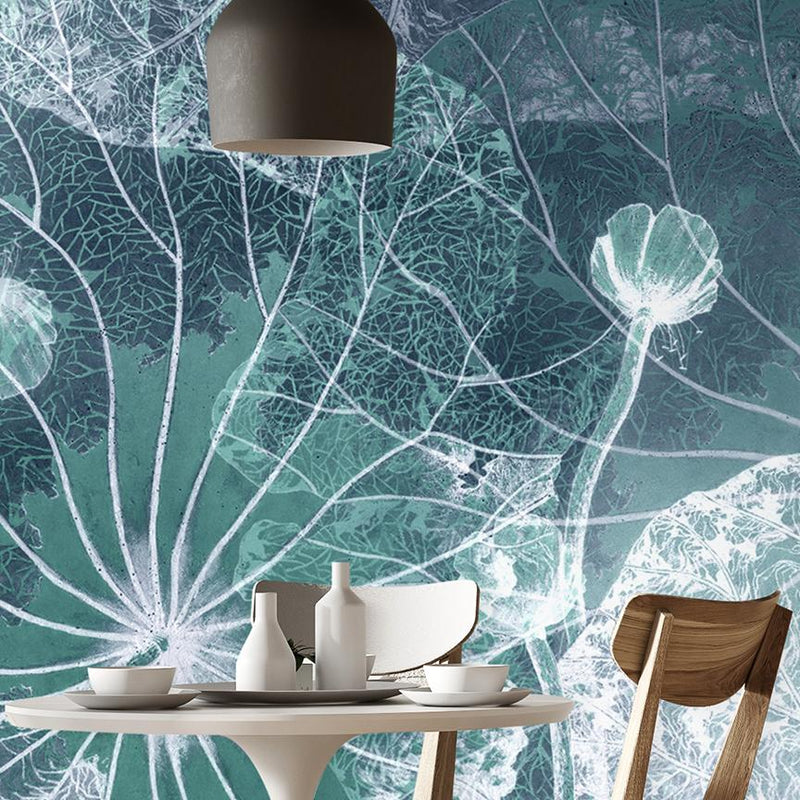 Blue Flowers Mural <br> Great Wall - Trendy Custom Wallpaper | Contemporary Wallpaper Designs | The Detroit Wallpaper Co.