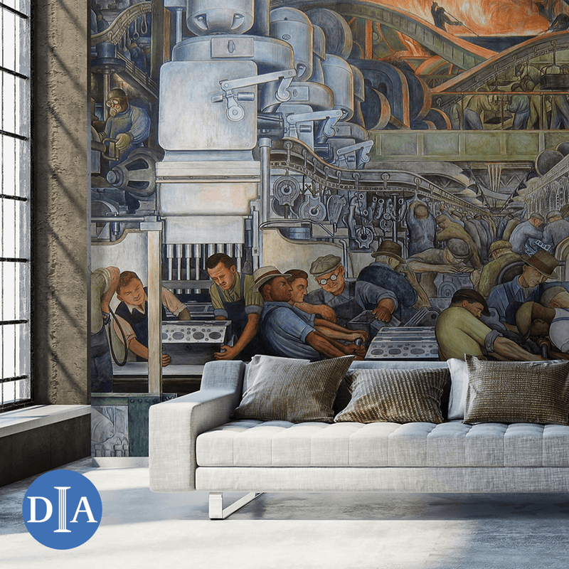 Detroit Industry, North Wall, 1933 <br> Detroit Institute of Arts - Trendy Custom Wallpaper | Contemporary Wallpaper Designs | The Detroit Wallpaper Co.