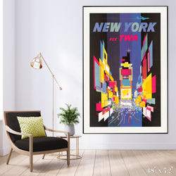 Fly New York - Times Square Colossal Art Print - Trendy Custom Wallpaper | Contemporary Wallpaper Designs | The Detroit Wallpaper Co.