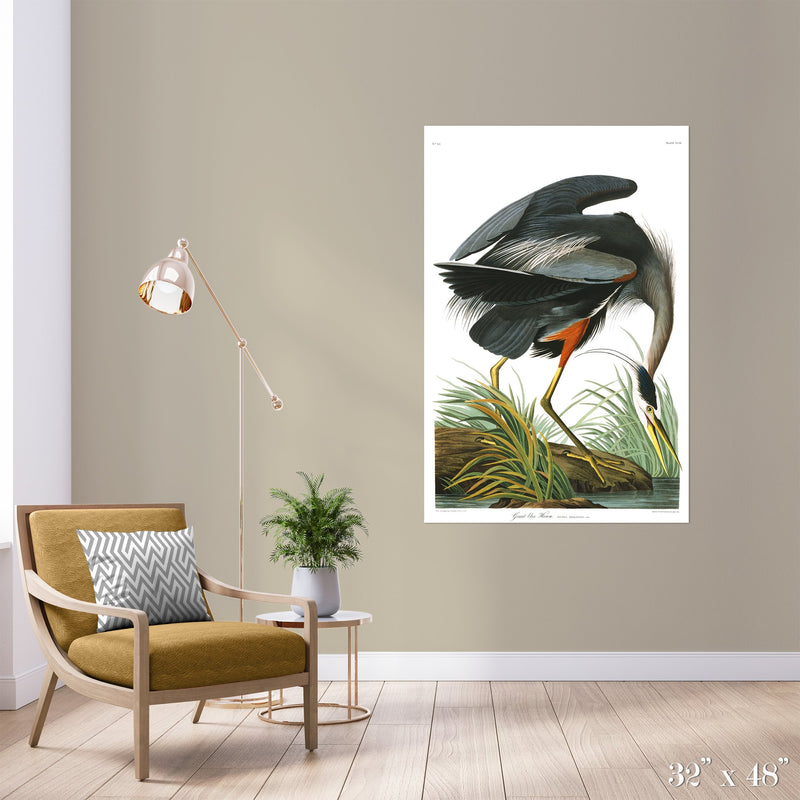 Great Blue Heron Colossal Art Print - Trendy Custom Wallpaper | Contemporary Wallpaper Designs | The Detroit Wallpaper Co.