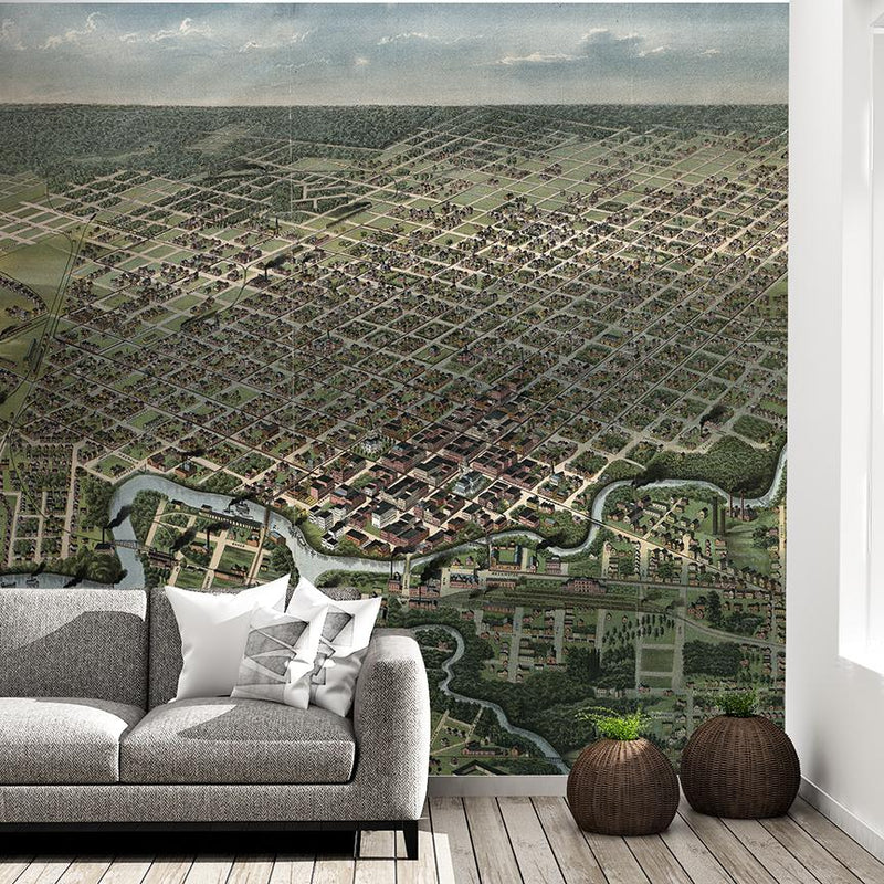 Houston Mural <br> Great Wall - Trendy Custom Wallpaper | Contemporary Wallpaper Designs | The Detroit Wallpaper Co.