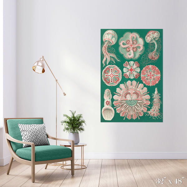 Jellyfish in Green Colossal Art Print - Trendy Custom Wallpaper | Contemporary Wallpaper Designs | The Detroit Wallpaper Co.