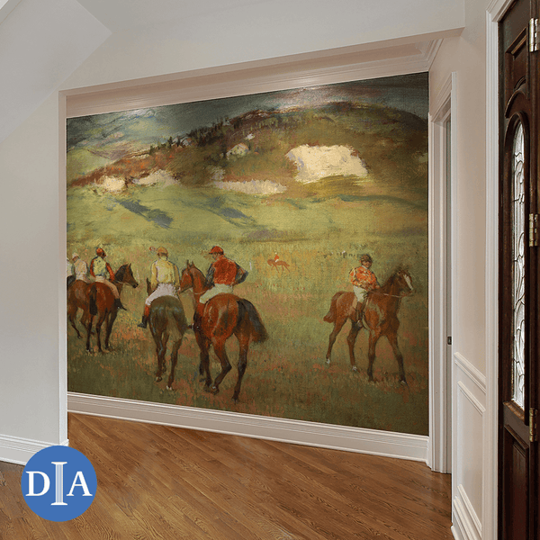 Jockeys on Horseback before Distant Hills, 1884 <br> Detroit Institute of Arts - The Detroit Wallpaper Co.