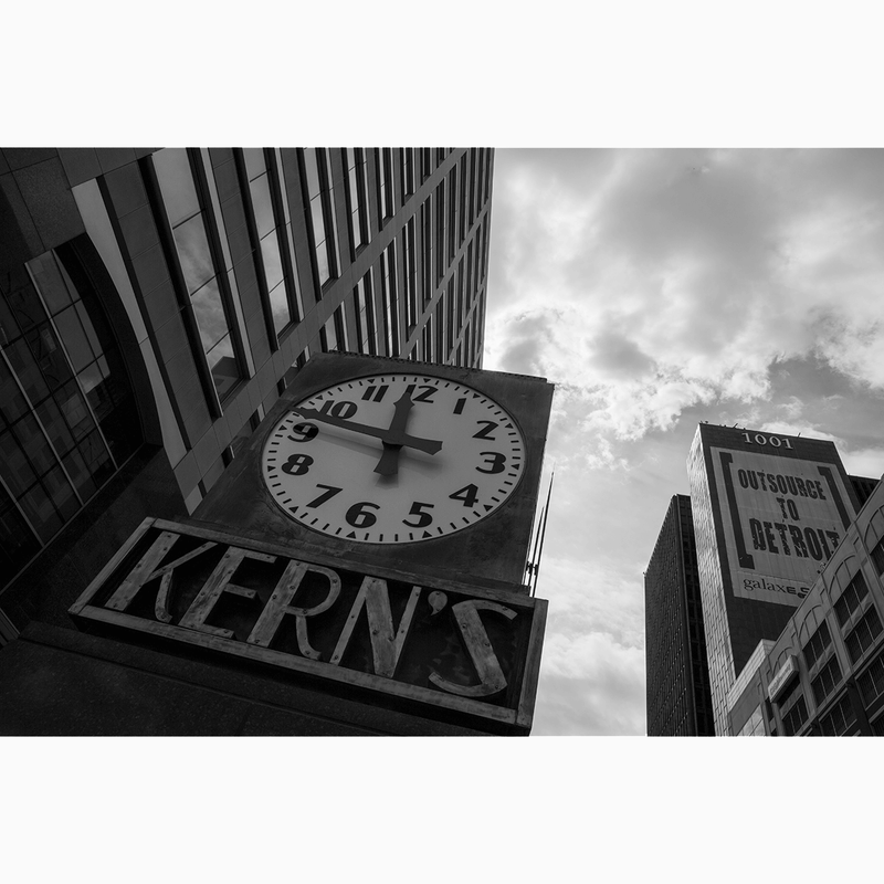 Kern's Clock <br> Amy Sacka Photography - Trendy Custom Wallpaper | Contemporary Wallpaper Designs | The Detroit Wallpaper Co.