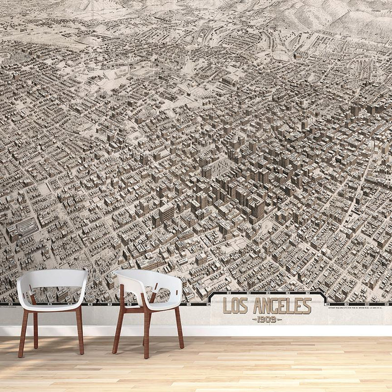 Los Angeles Mural <br> Great Wall - Trendy Custom Wallpaper | Contemporary Wallpaper Designs | The Detroit Wallpaper Co.