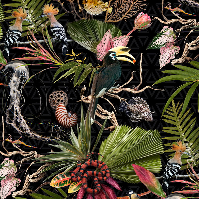 Menagerie - Black - Trendy Custom Wallpaper | Contemporary Wallpaper Designs | The Detroit Wallpaper Co.