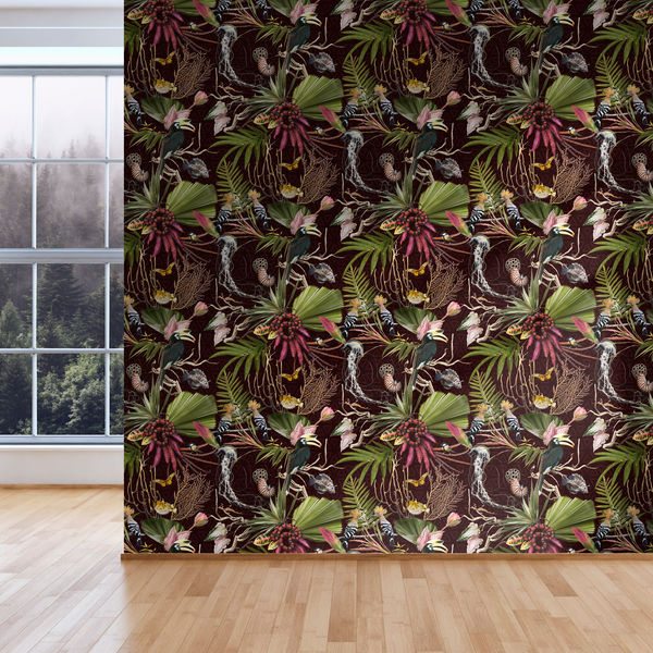Menagerie - Burgandy - Trendy Custom Wallpaper | Contemporary Wallpaper Designs | The Detroit Wallpaper Co.