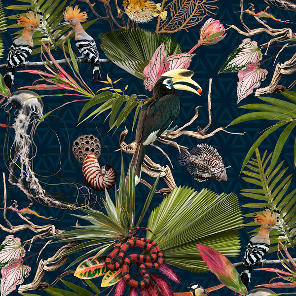 Menagerie - Navy - Trendy Custom Wallpaper | Contemporary Wallpaper Designs | The Detroit Wallpaper Co.