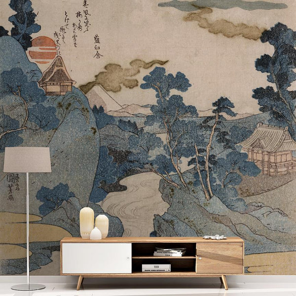 Muted Landscape Mural <br> Great Wall - Trendy Custom Wallpaper | Contemporary Wallpaper Designs | The Detroit Wallpaper Co.