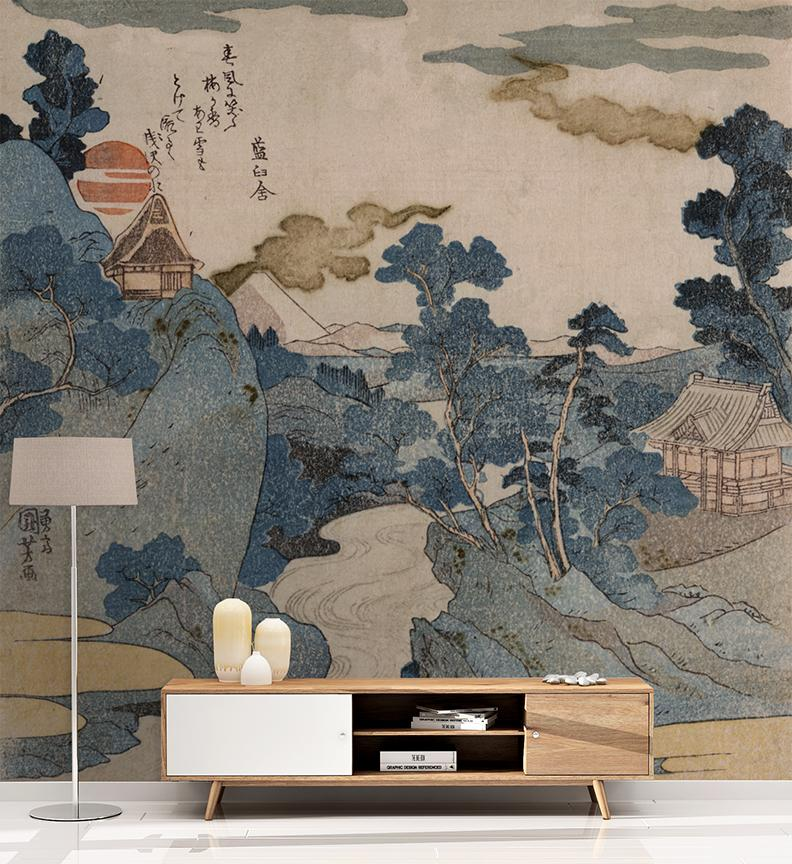 Muted Landscape Mural - Trendy Custom Wallpaper | Contemporary Wallpaper Designs | The Detroit Wallpaper Co.