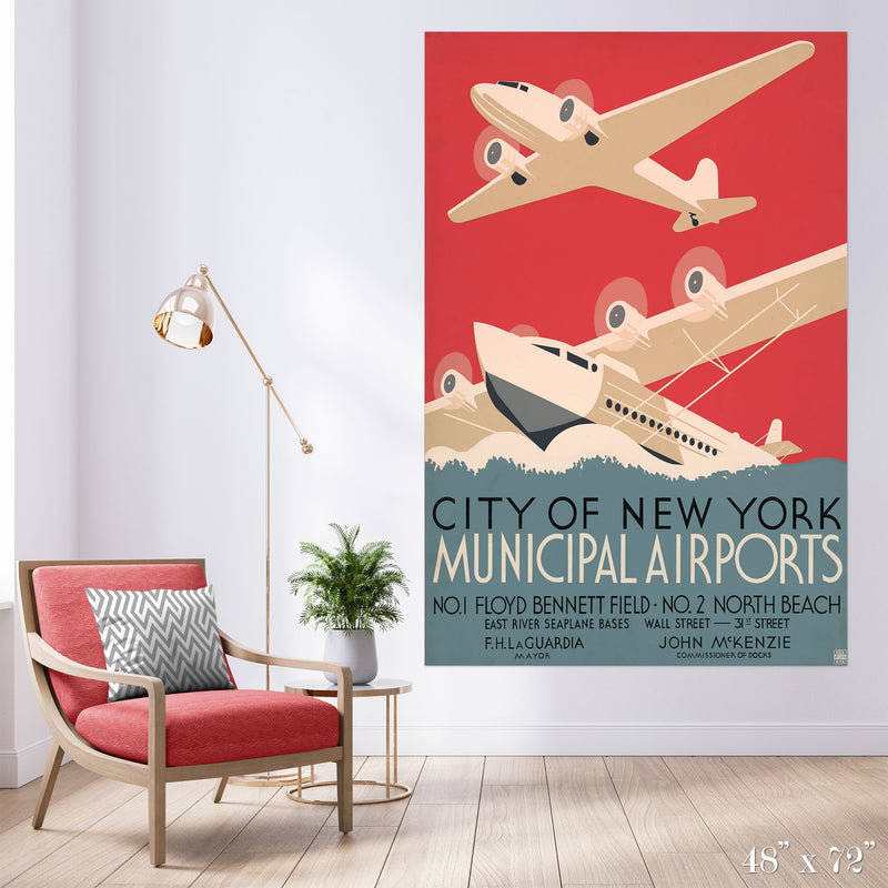 NY Airports Colossal Art Print - Trendy Custom Wallpaper | Contemporary Wallpaper Designs | The Detroit Wallpaper Co.