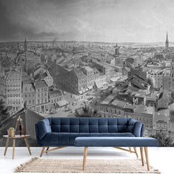 New York Mural <br> Great Wall - Trendy Custom Wallpaper | Contemporary Wallpaper Designs | The Detroit Wallpaper Co.