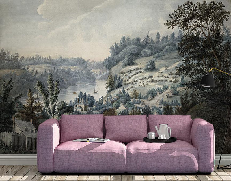 Pastoral Hills Mural <br> Great Wall - Trendy Custom Wallpaper | Contemporary Wallpaper Designs | The Detroit Wallpaper Co.