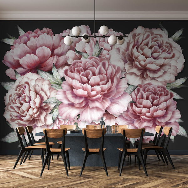 Peonies Mural - Trendy Custom Wallpaper | Contemporary Wallpaper Designs | The Detroit Wallpaper Co.