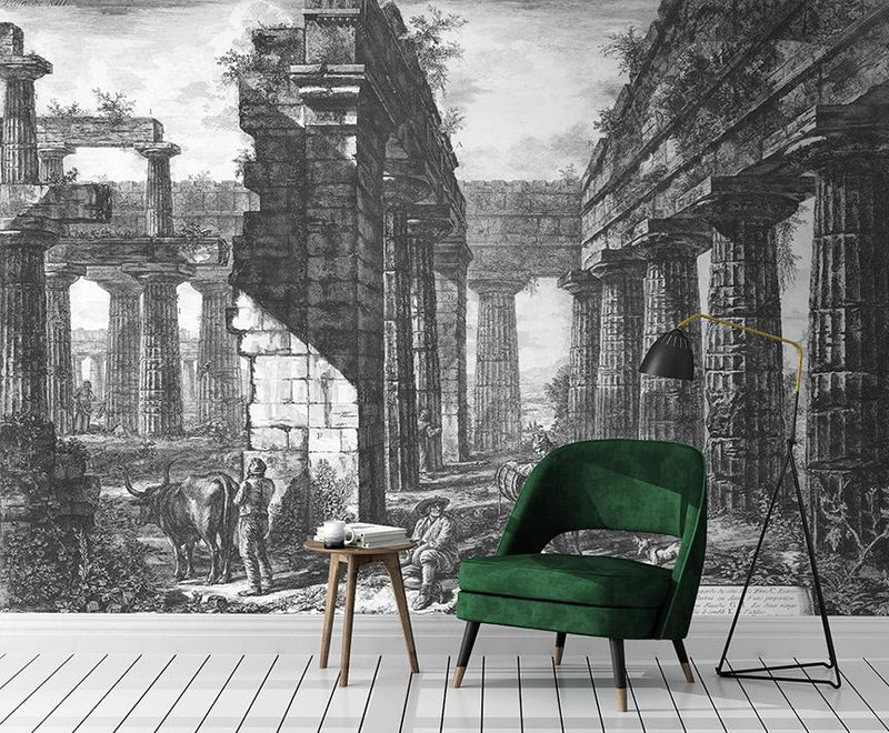 Perfect Ruin Mural <br> Great Wall - Trendy Custom Wallpaper | Contemporary Wallpaper Designs | The Detroit Wallpaper Co.