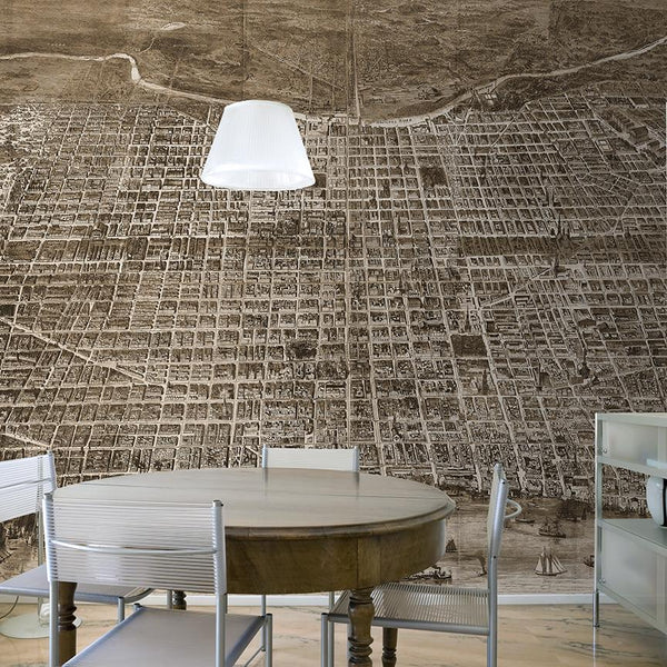 Philadelphia Mural <br> Great Wall - Trendy Custom Wallpaper | Contemporary Wallpaper Designs | The Detroit Wallpaper Co.