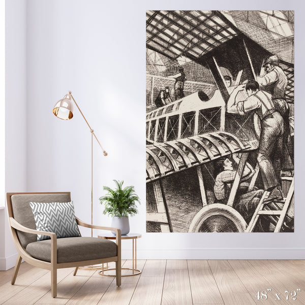 Plane Makers Colossal Art Print - Trendy Custom Wallpaper | Contemporary Wallpaper Designs | The Detroit Wallpaper Co.