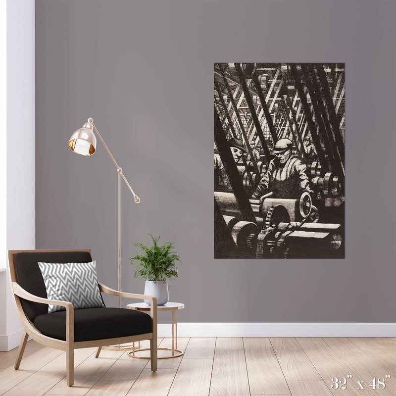 Pulleys Colossal Art Print - Trendy Custom Wallpaper | Contemporary Wallpaper Designs | The Detroit Wallpaper Co.