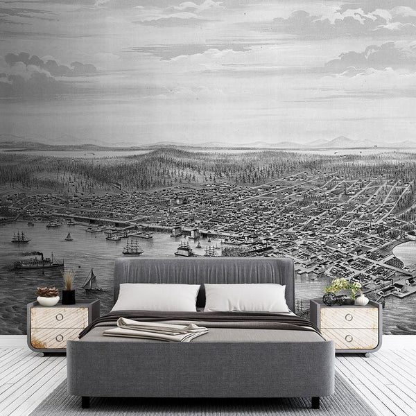 Seattle Mural <br> Great Wall - Trendy Custom Wallpaper | Contemporary Wallpaper Designs | The Detroit Wallpaper Co.