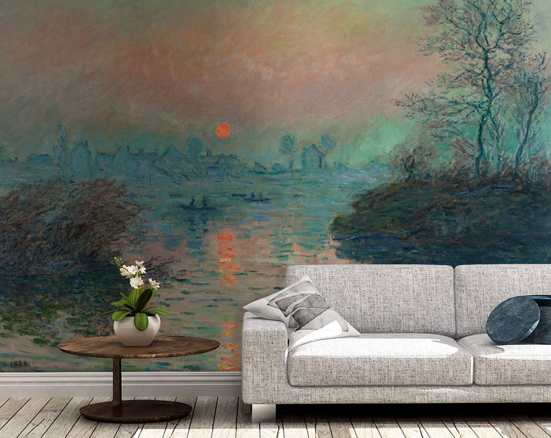 Sunset on the Seine Mural - Trendy Custom Wallpaper | Contemporary Wallpaper Designs | The Detroit Wallpaper Co.
