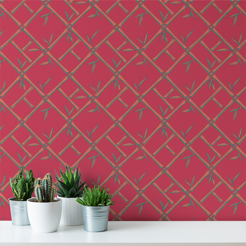 Bamboo - Beet - Trendy Custom Wallpaper | Contemporary Wallpaper Designs | The Detroit Wallpaper Co.